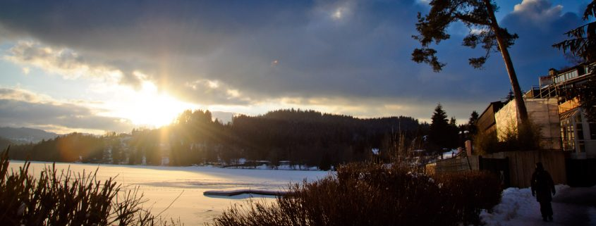 Sunset on the frozen lake