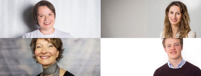 Julia Freudenberg von Hacker School, Karin Heinzl von MentorMe, Simone Fuhs von EcoSign, Freddi Lange von SensAbility