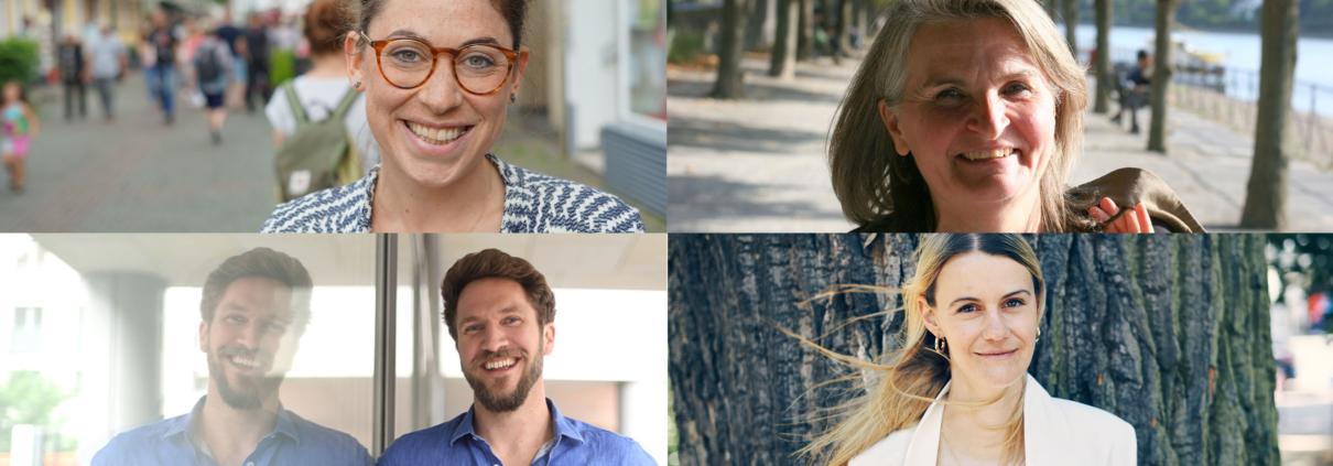 Sarah Hüttenberend von Zweitzeugen, Ute Schulze #SocialMediaGedönsTante, Malte Bedürftig von GoVolunteer, Zarah Bruhn von Social Bee